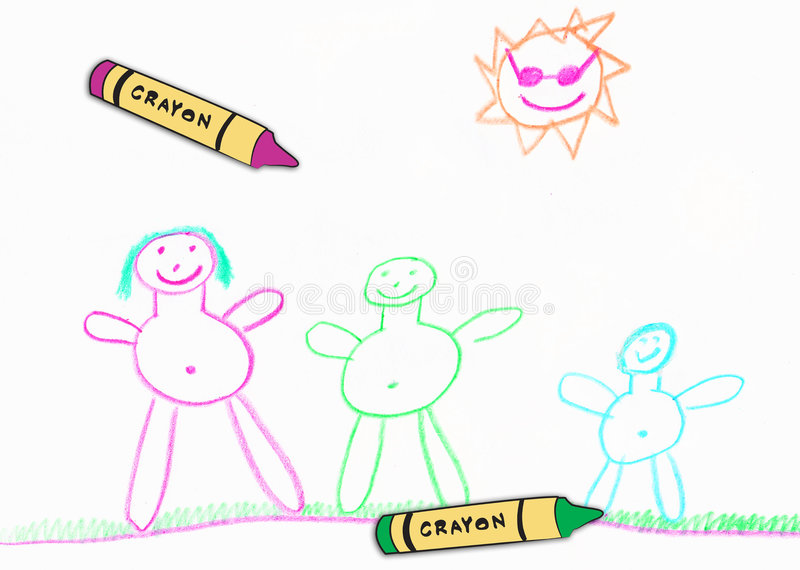 Child's family drawing. Childrens happy family drawing with wax crayons stock illustration
