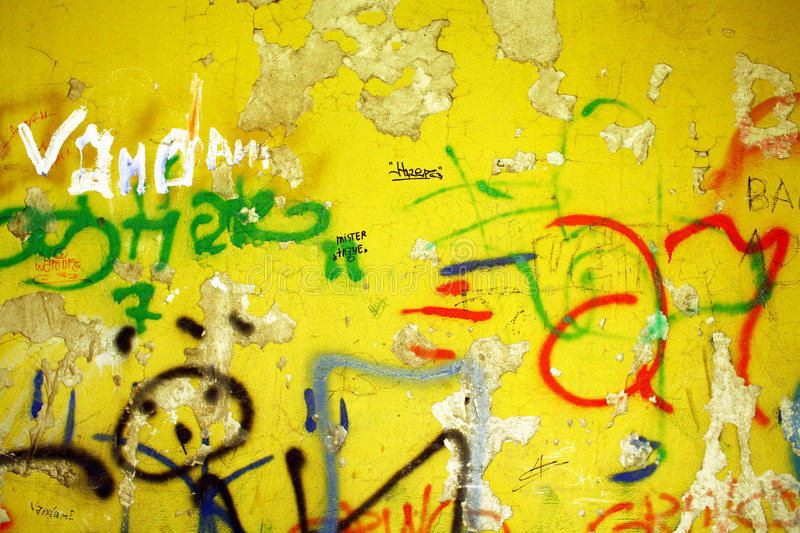 Child's fantasies. Graffiti on a wall ideal for urban or grunge background royalty free stock photography