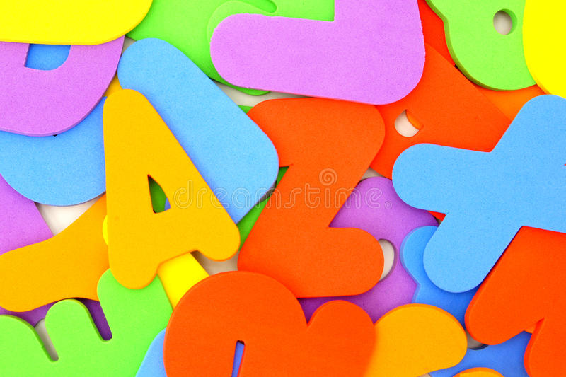 Child's foam letter backround royalty free stock photo