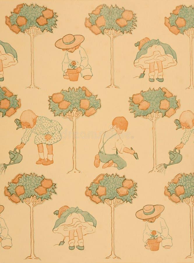 Child's garden vintage book end paper pattern stock photos