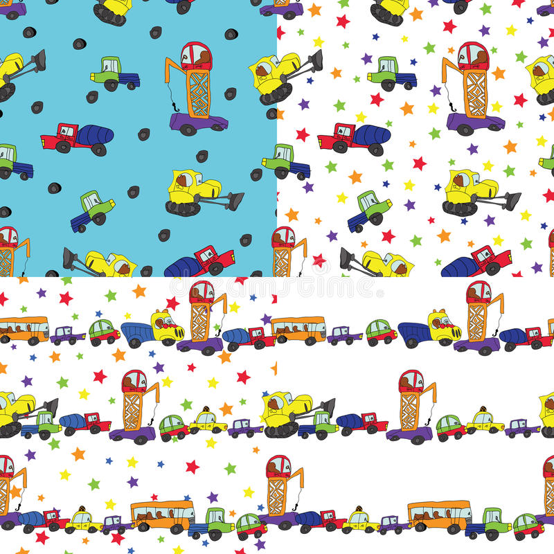 Child's hand draw cars.Funny cartoon Doodle seamless pattern stock illustration