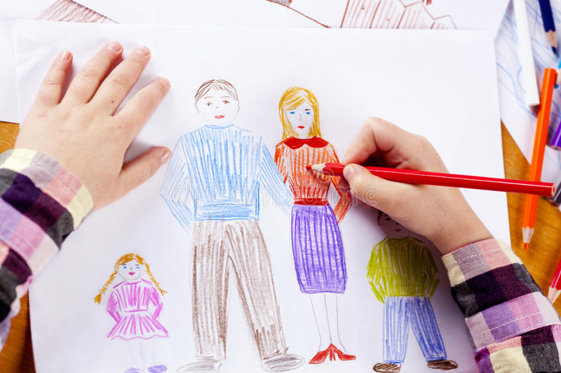 Child's hand drawing royalty free stock images