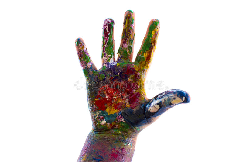 Child's hand is painted watercolors on white background royalty free stock images