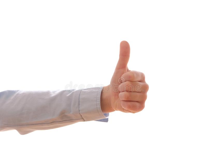 Child`s hand showing a positive gesture stock photos
