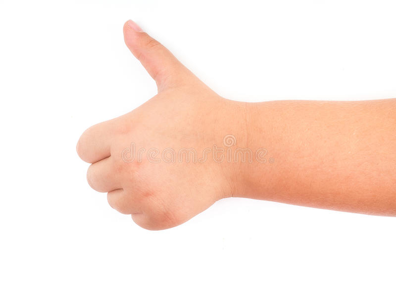 Child`s hand showing thumb up stock photo