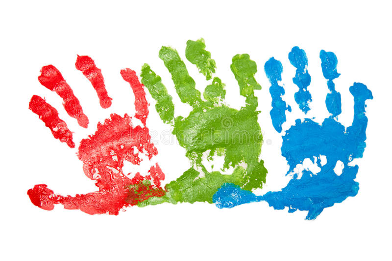 Child's handprints stock images