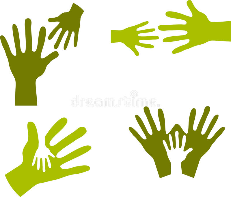 Child's Hands and Adult Hands - 2 vector illustration