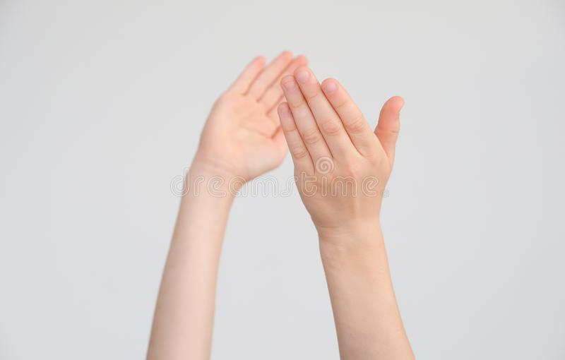 Child`s hands clap royalty free stock images