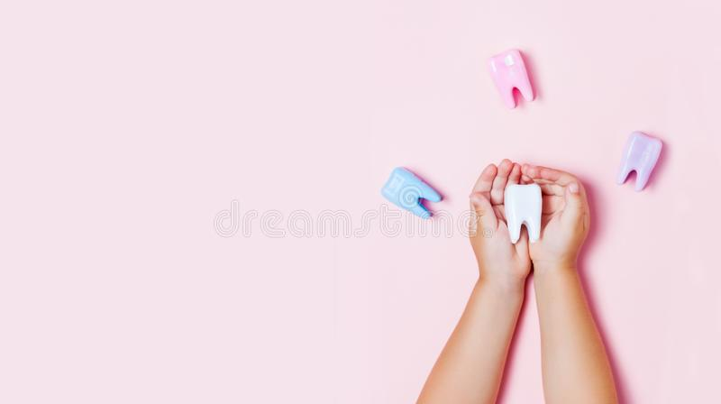 Child`s hands holding big tooth and toothbrush stock images