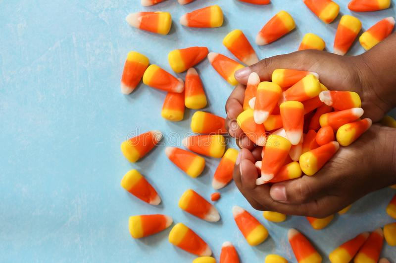 Child`s hands holding Halloween candy corn, selective focus royalty free stock photos