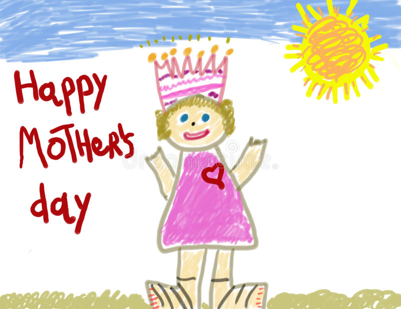 Child's Happy Mother's Day vector illustration