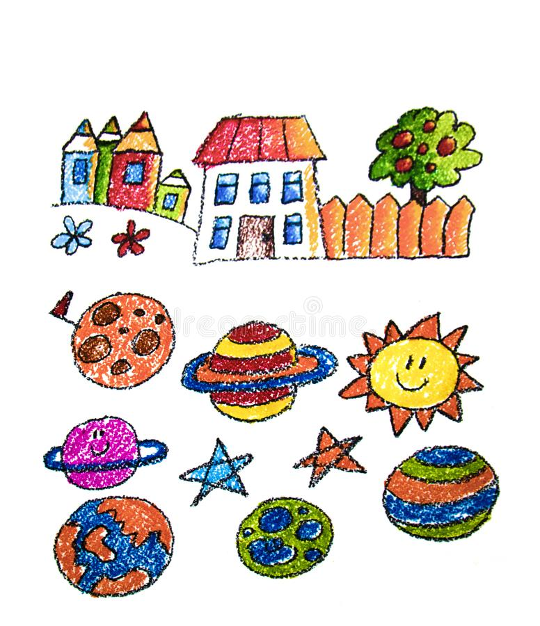 Child's painting on paper. Kids drawing image. stock photo
