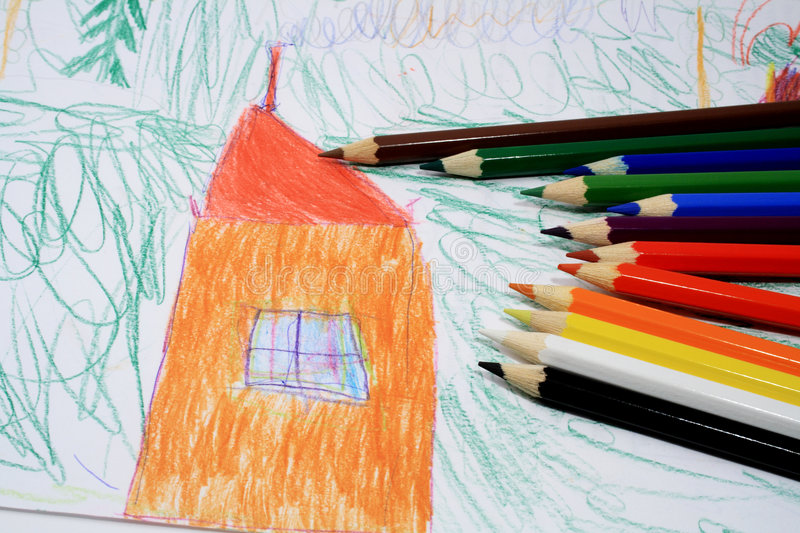 Child's picture and pencils stock images