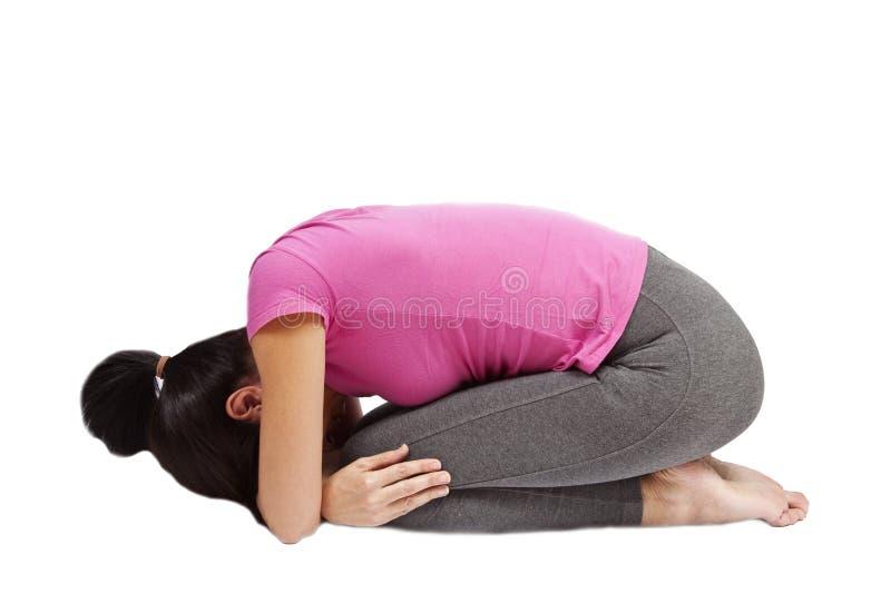 Child's Pose In Yoga stock photos