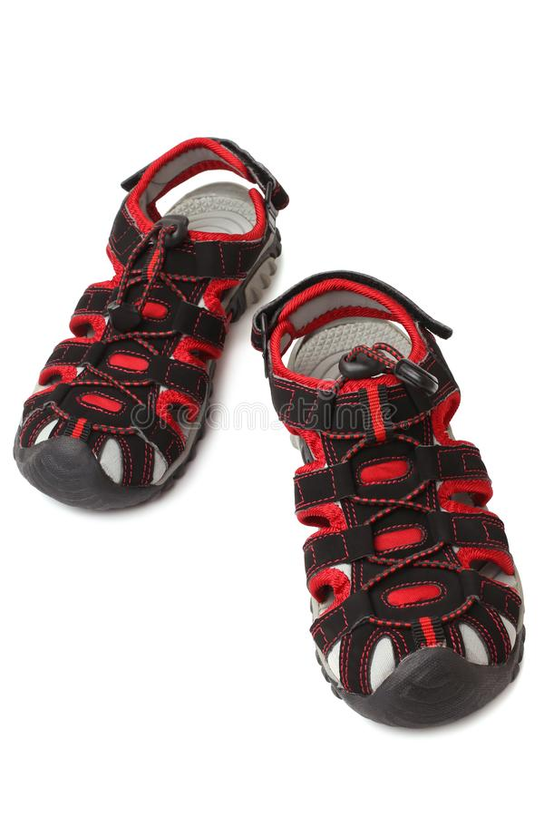 Child`s shoes. On white background stock photography