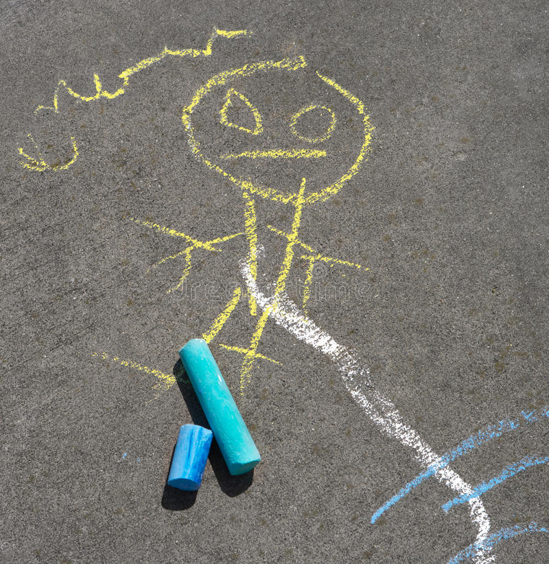 Child's Sidewalk Chalk Drawing royalty free stock images