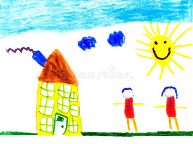 Child' s-teckning av ett hus på en solig dag royaltyfria foton