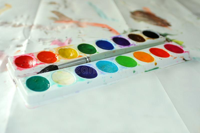 Child's watercolors stock images