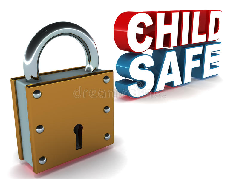 Child safe. Label, lock with text in red and blue, white background royalty free illustration