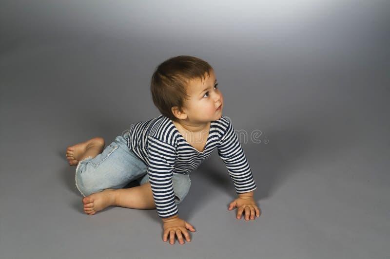 Download Child  In Sailor's Striped Vest Crawl Stock Photo - Image: 6656480