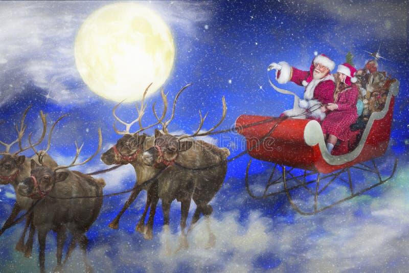 Child and Santa Claus on sleigh stock illustration