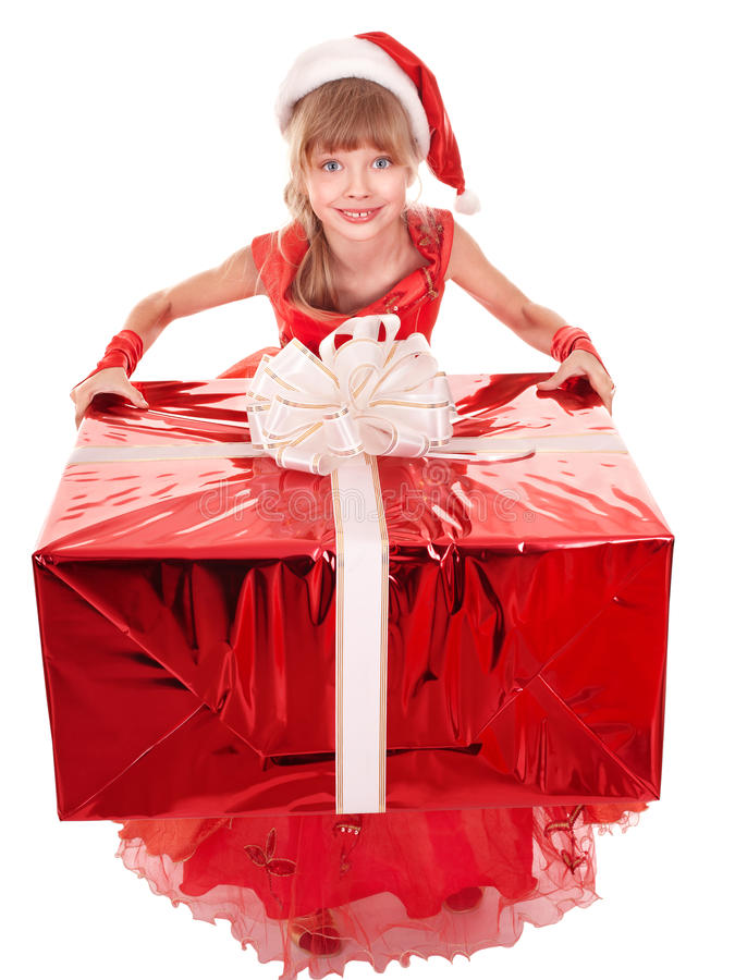 Download Child In Santa Hat Giving Red Gift Box. Stock Image - Image: 17143141