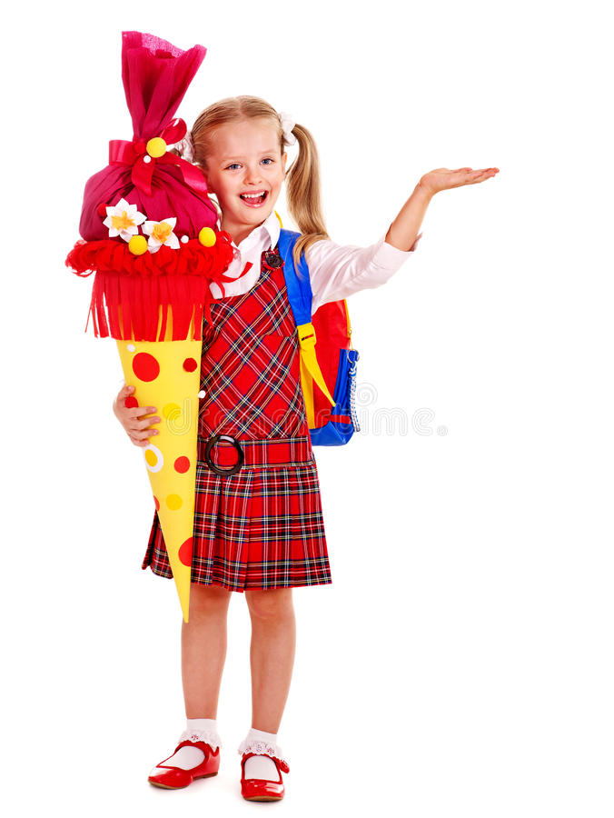 Child with school cone. stock photo