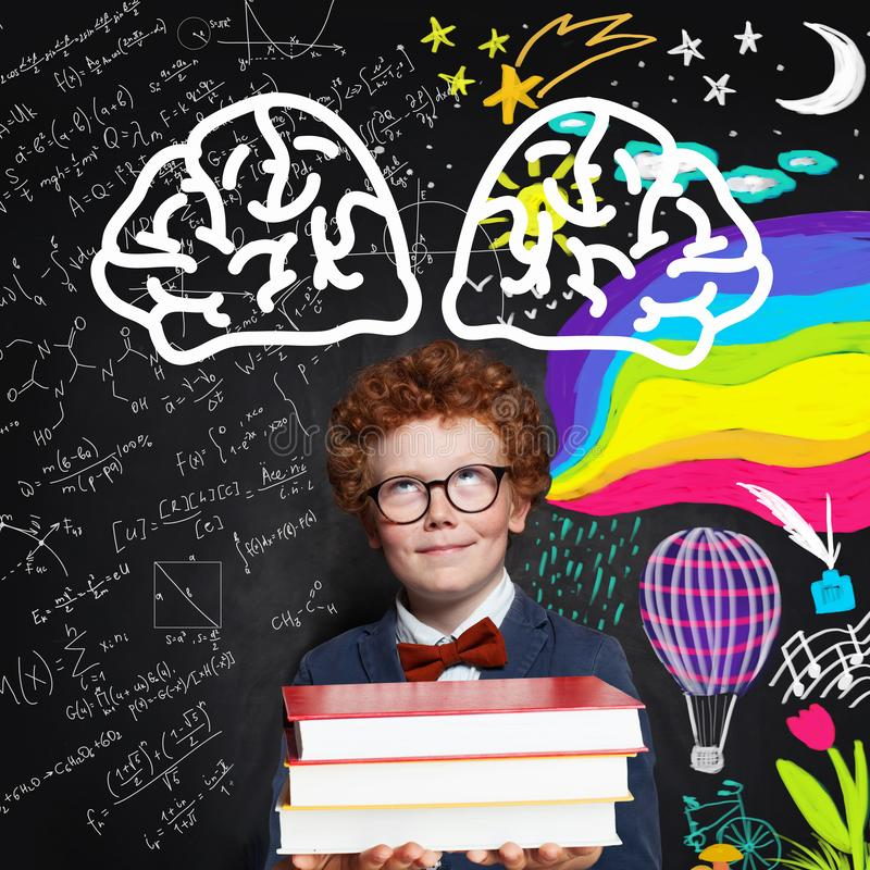 Child in school uniform against science formulas and art pattern background stock image