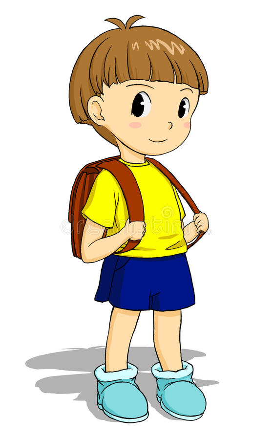 Child with schoolbag royalty free stock photo