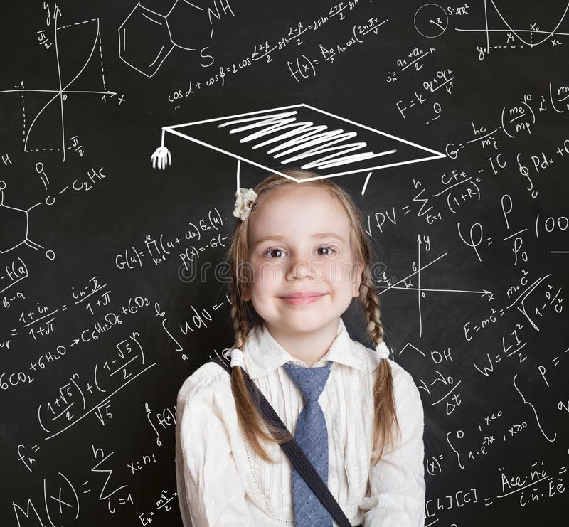 Child science education concept. Little girl student royalty free stock photos
