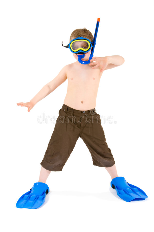 Child in scuba diving stock photo