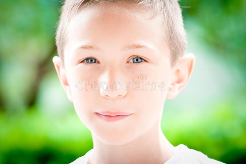 Child serene facial expression stock image