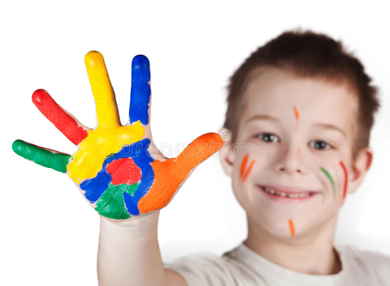 Download Child Showing His Colored Hands Stock Photo - Image of isolated, vivid: 23875010