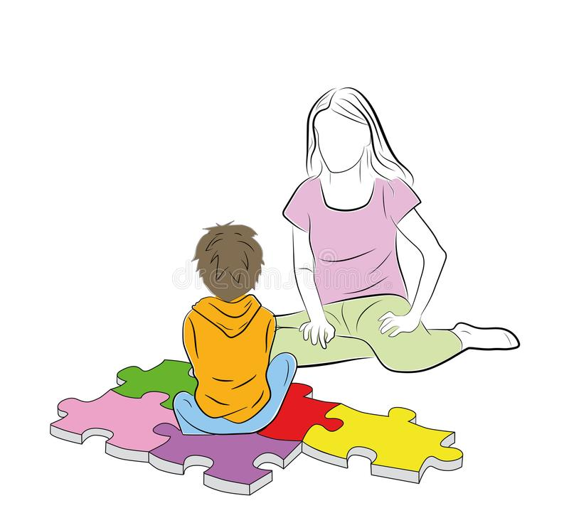The child is sitting with his mother. the child is sitting on the puzzles of the symbols of autism. vector illustration. The child is sitting with his mother stock illustration