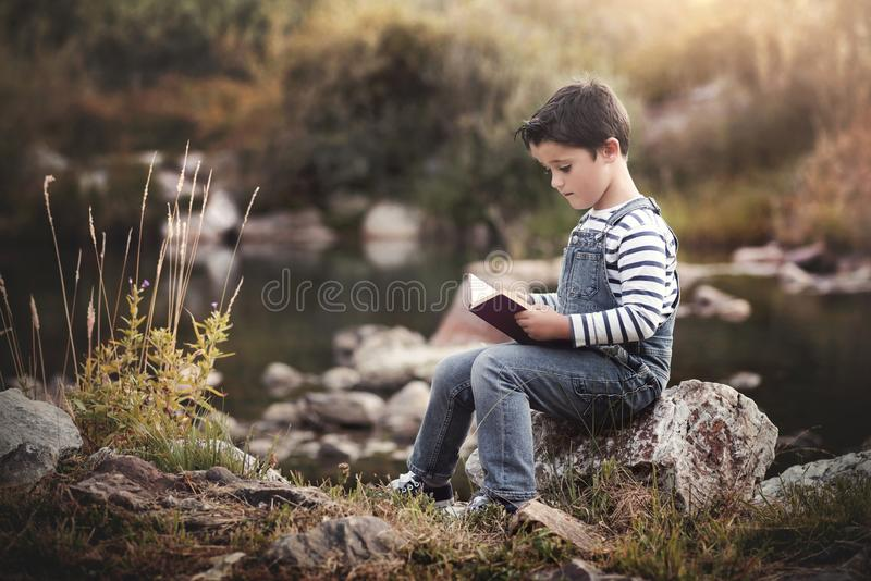Child sitting reading a book stock photo