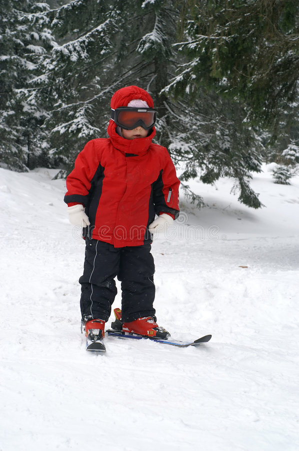 Child ski - vertical royalty free stock images