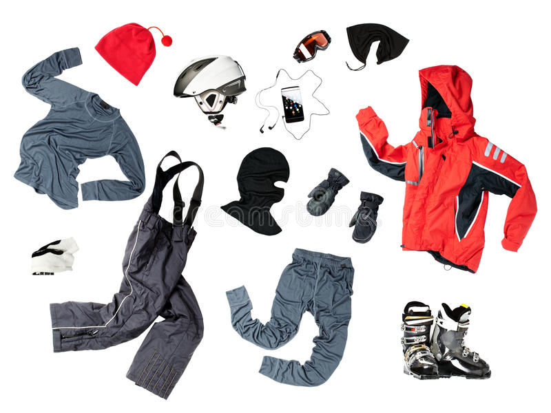 Child skier's clothing stock photo