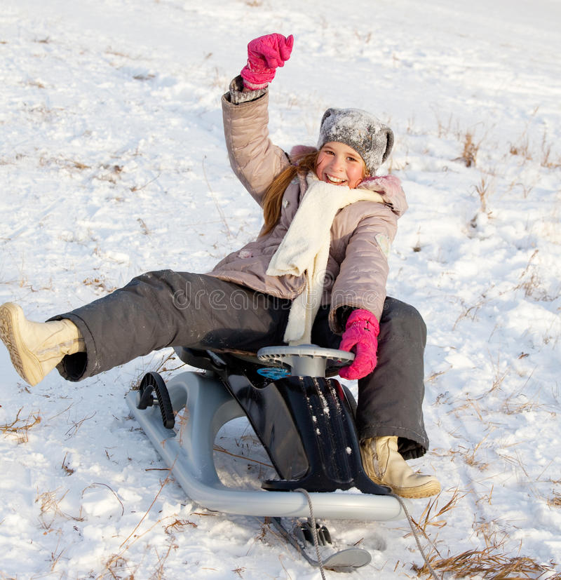 Download Child on sled stock image. Image of action, outdoors - 27179105