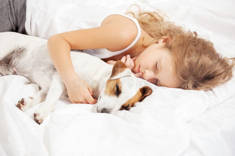 Child sleeping with dog. Girl with pet at home stock image
