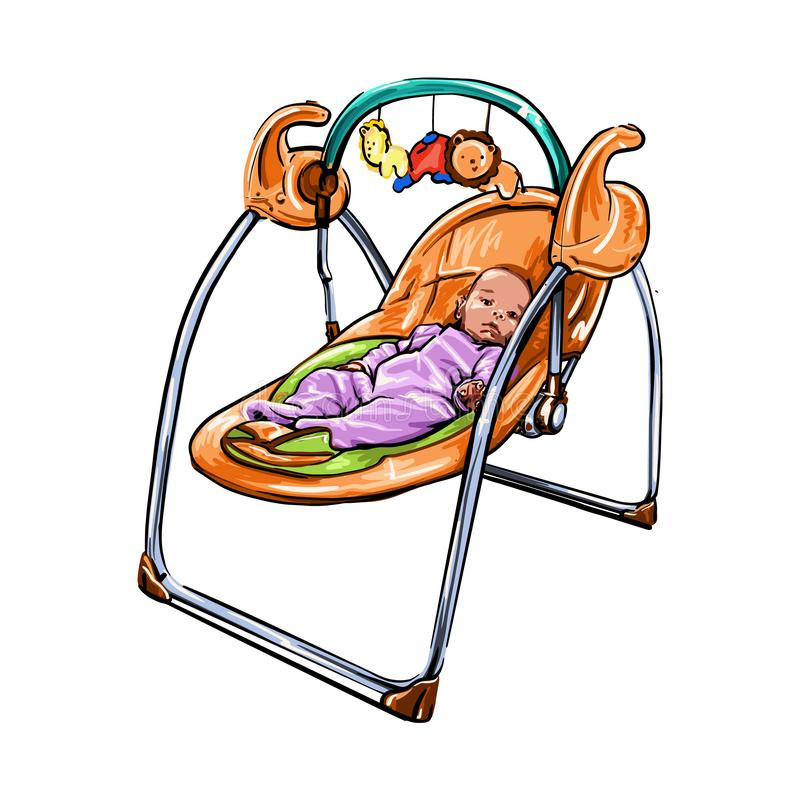 Child in a small crib rocker drawn by hand. Illustration of a Baby Girl Trying to Reach the Toys Attached to Her Rocker child in a small crib rocker drawn by stock illustration