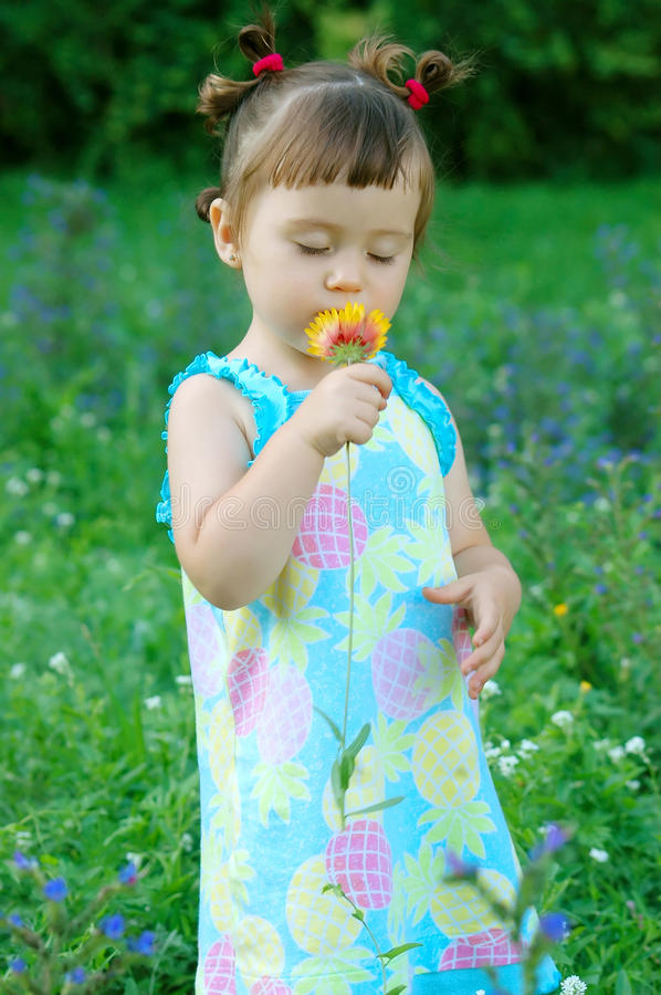 Download The Child A Smelling Flower Stock Photo - Image: 18708254