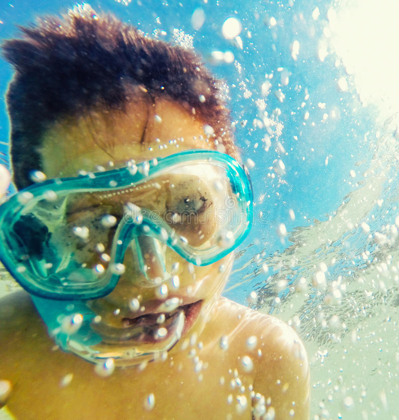 Child snorkeler stock images