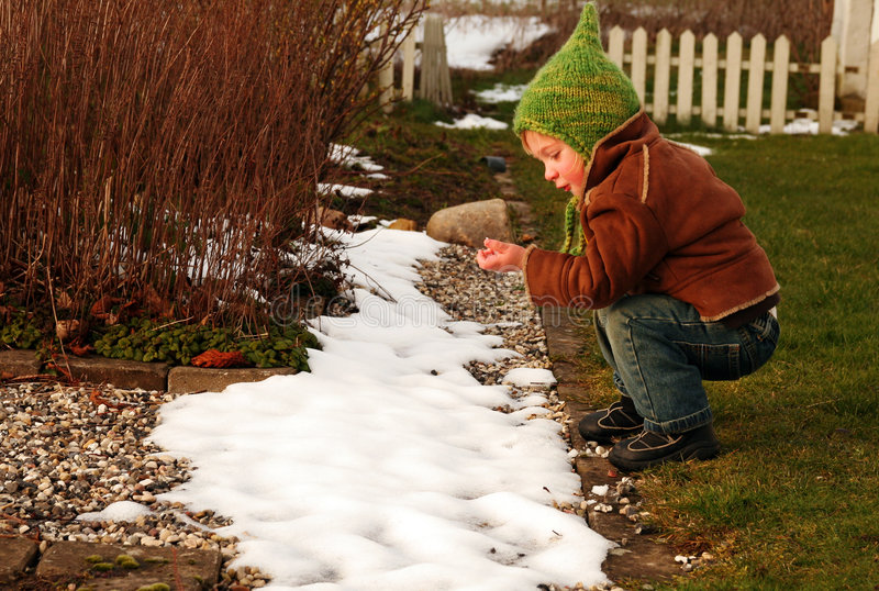 Child and snow royalty free stock images