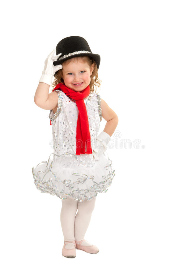 Child in Snowman Christmas Dance Costume. Happy Toddler Child in Christmas Winter Snowman Ballet Dance Recital Costume stock photos