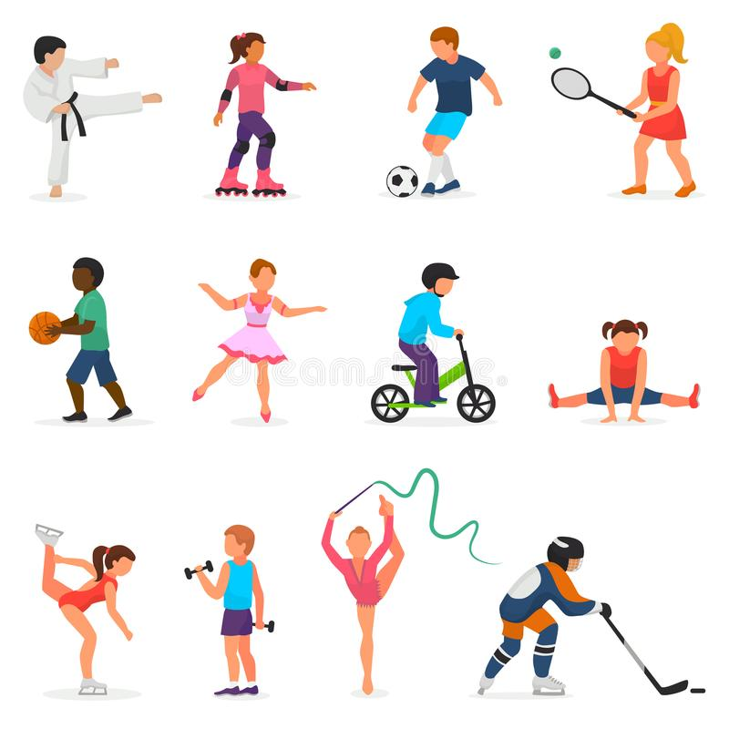 Child in sport vector boy or girl character playing hockey or soccer and children dancing or skating illustration set of stock illustration