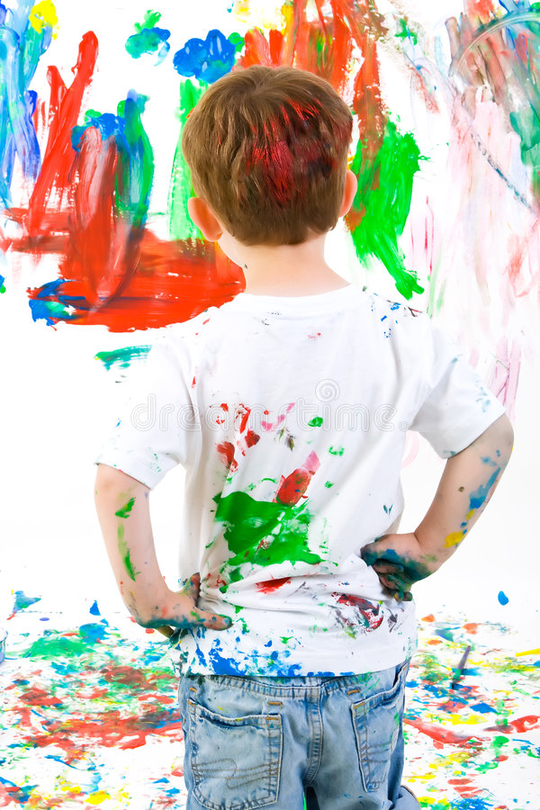 Child Standing Back And Admiring His Painting Stock Photos ...