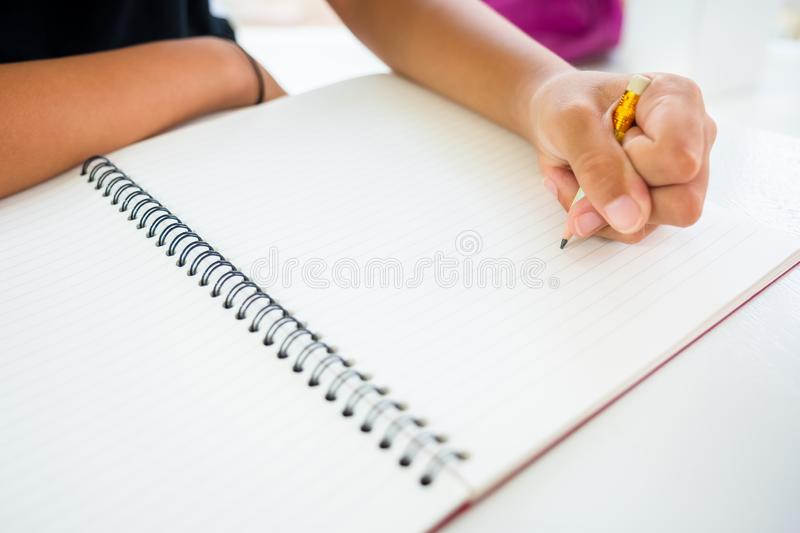 Child Start Writing or Drawing royalty free stock photo