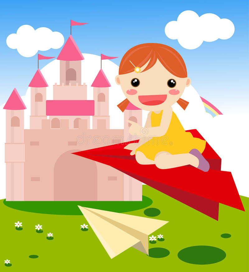Child Starting Up The Plane Royalty Free Stock Photo