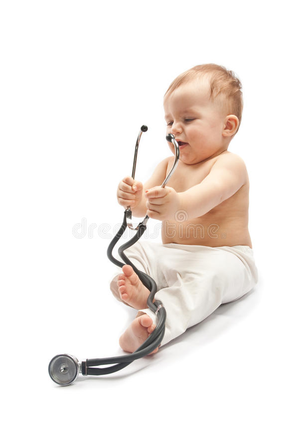Child with stethoscope royalty free stock image