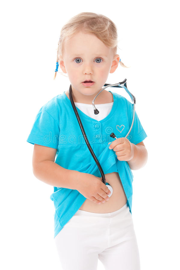 Download Child With Stetoscope Playing Doctor Stock Image - Image: 21591539